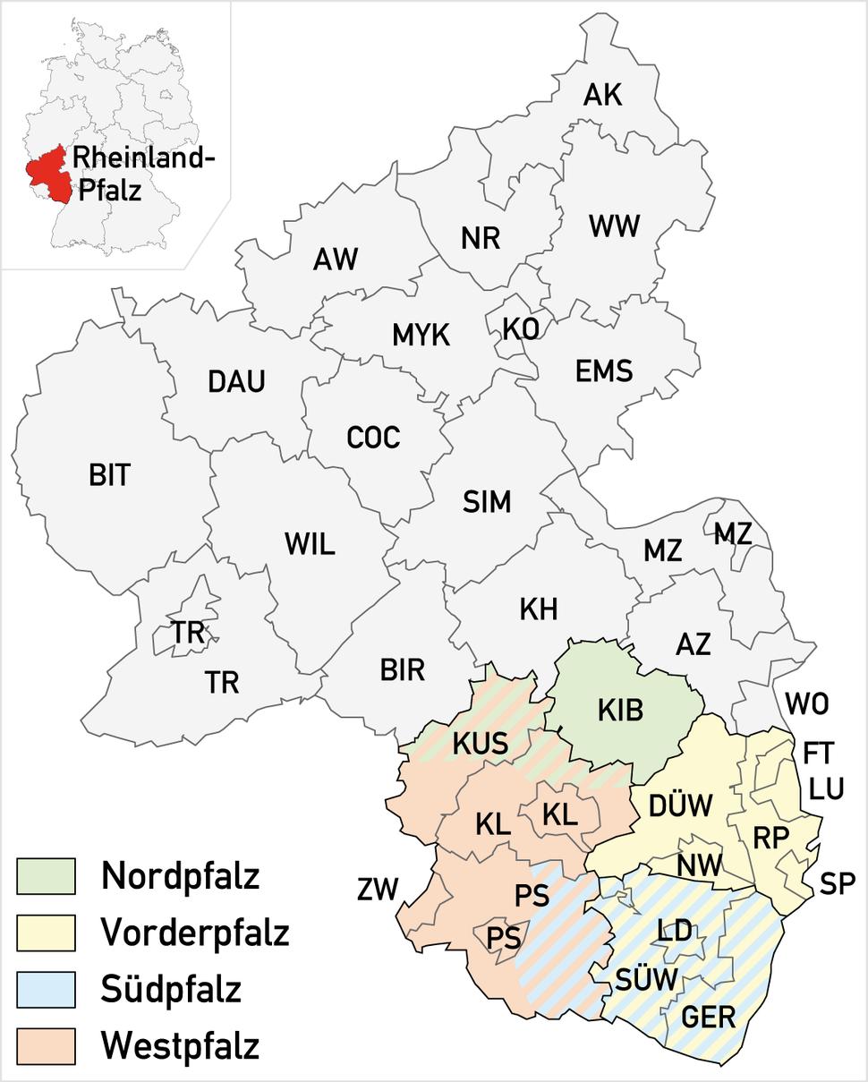 Teilbereiche der Pfalz