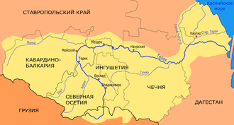 North Caucasus Line - The Terek drains the northeast Caucasus into the Caspian Sea. The Malka is its northwest tributary and the Sunzha River is inside the great bend of the Terek