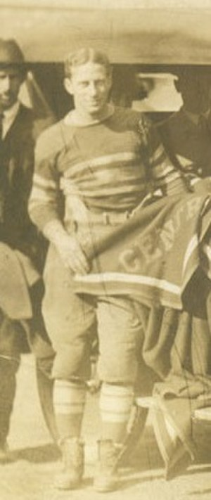 1921 Centre Praying Colonels football team - Snoddy, holding a Centre blanket the day before beating Harvard.