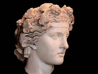 Cult of Dionysus - Marble head of Dionysus in the Capitoline Museums, Rome
