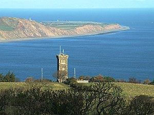 Tower Bends - Albert Tower seen from the Gooseneck with Ramsey bay and Bride hills in background