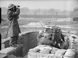Leeds Blitz - Spotter and predictor operators at a 4.5-inch anti-aircraft gun site in Leeds, 20 March 1941