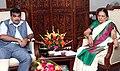 The Chief Minister of Gujarat, Smt. Anandiben Patel calling on the Union Minister for Road Transport & Highways and Shipping, Shri Nitin Jairam Gadkari, in New Delhi on June 10, 2014.jpg