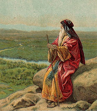 V'Zot HaBerachah - The Death of Moses (illustration from a Bible card published 1907 by the Providence Lithograph Company)