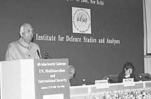 "The Deputy Chairman, Planning Commission Shri K.C. Pant speaking at the inauguration of the ""6 Asian Security Conference"" organized by the Institute for Defence Studies and Analyses (IDSA) in New Delhi on January 27, 2004.jpg"