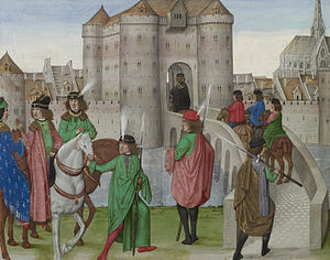 Froissart's Chronicles - The Dukes of Berry and Burgundy leaving Paris to meet with the Duke of Bretagne, miniature of 1480-83