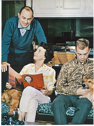 F. Jay Taylor - Dr. F. Jay and Mrs. Evelyn Taylor with son Terry Jay Taylor and the family dogs (1967)