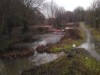 Itchen Navigation - Lock conservation work in progress at Mansbridge Lock