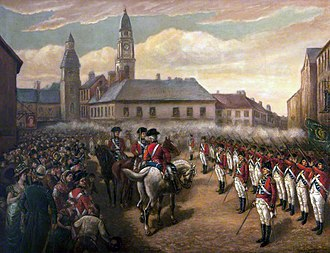 Irish Volunteers (18th century) - The Lisburn and Lambeg Volunteers firing a feu de joie in honour of the Dungannon Convention, 1782