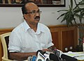 The Minister of State for Agriculture, Consumer Affairs, Food & Public Distribution, Prof. K.V. Thomas briefing the media on the occasion of Coconut Day which falls on 2nd September, 2010, in New Delhi on August 31, 2010.jpg