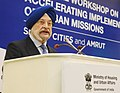 The Minister of State for Housing and Urban Affairs (IC), Shri Hardeep Singh Puri delivering the inaugural address at the National Workshop on Accelerating Implementation of Urban Missions AMRUT & Smart Cities, in New Delhi.jpg
