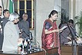 The President Dr.A.P.J.Abdul Kalam administering the Oath (Cabinet Minister) to Smt.Ambika Soni, in New Delhi on January 29,2006.jpg