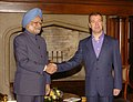 The Prime Minister, Dr. Manmohan Singh being received by the President of the Russian Federation, Mr. Dmitry Anatolyevich Medvedev at the dinner hosted by him, in Moscow, Russia on December 06, 2009.jpg