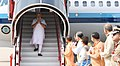 The Prime Minister, Shri Narendra Modi being welcomed by the Chief Minister of Uttar Pradesh, Yogi Adityanath and other dignitaries, on his arrival, in Lucknow, Uttar Pradesh on June 28, 2018.JPG