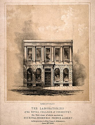 Royal College of Chemistry - The Royal College of Chemistry: the laboratories. Lithograph