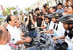 The Vice President, Shri M. Venkaiah Naidu interacting with the students participating in the Bicycle Rally, on the occasion of World Bicycle Day 2018, in New Delhi.JPG