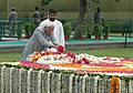 The Vice President, Shri Mohd. Hamid Ansari paying floral tribute at the Samadhi of former Prime Minister late Shri Chandra Shekhar on his 1st death anniversary at Smriti Sthal, in Delhi on July 08, 2008.jpg