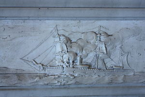 HMS Doterel (1880) - The explosion on HMS Doterel (detail on the Greenwich memorial)