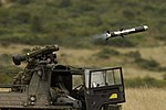 The first launch of a Javelin, Anti-Tank Guided Weapon (ATGW), was part of a demonstration at Imber Camp, Warminster. MOD 45144621.jpg