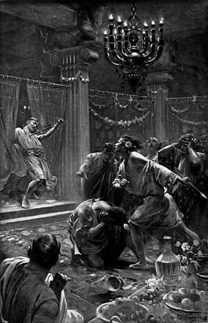 Cleitus the Black - Alexander kills Cleitus, painting by André Castaigne 1898–1899
