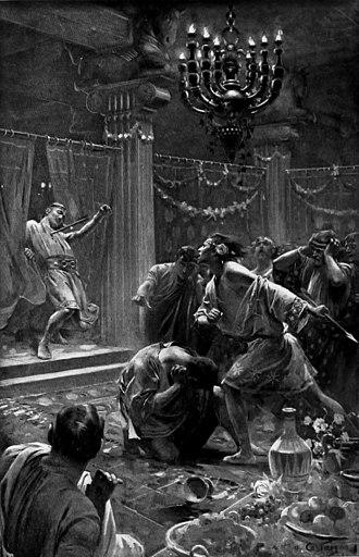 Cleitus the Black - Alexander kills Cleitus, painting by André Castaigne 1898–1899