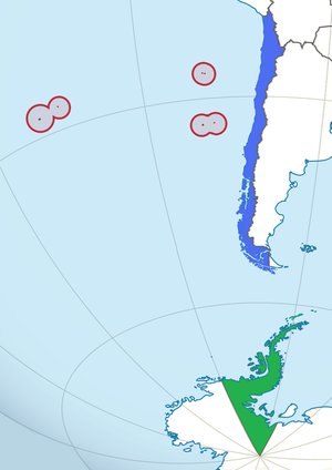 Insular Chile - Map of the three areas dividing the Chilean territory: In blue: Continental Chile In red: Insular Chile In green: Antarctic Chile