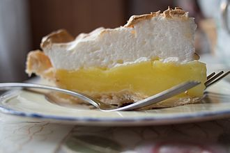 Lemon meringue pie - A slice of lemon meringue pie