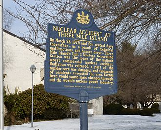 A sign dedicated in 1999 in Middletown, Pennsylvania near the plant describing the accident and the evaluation of the area. Three Mile Island accident sign.jpg