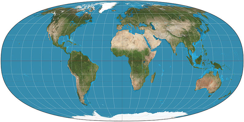 Tobler hyperelliptical projection of the world; a = 0, g = 1.18314, k = 2.5 Tobler hyperelliptical projection SW.jpg