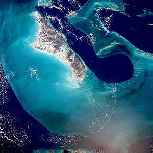 Tongue of the Ocean - The Tongue of the Ocean can be seen along the east coast of Andros Island.  The top of this picture is slightly east of north. Photo: NASA.