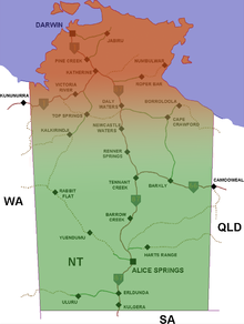 map showing the approximate location of the Top End within the Northern Territory of Australia. The Top End is at the top of the map in red, while the rest of the Northern Territory is shown in green