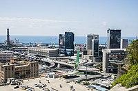 Torre della Lanterna vista dal moderno Centro Direzionale di Genova S. Benigno ed elicoidale.jpg
