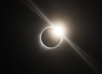 Baily's beads - Diamond ring effect visible during the total solar eclipse of August 21, 2017 in Ravenna, Nebraska.  (The spikes emanating tangentially from the diamond are an artifact of the camera optics, not a natural phenomenon.)