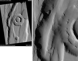 Fossa (geology) - Image: Tractus Fossae Ringed Pit