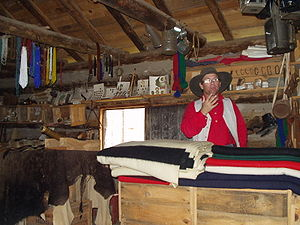 Trading post - A recreation of a typical trading post for trade with the Plains Indians.