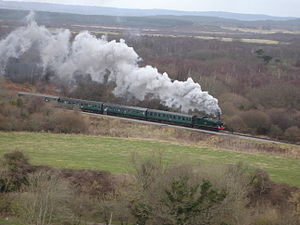 Swanage Railway - 56XX Tank No.6695 on the Swanage Railway viewed from Corfe Castle