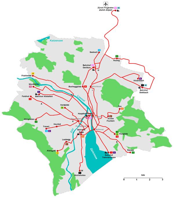 Схема маршрутов цюрихского