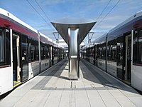 Trams at the terminus (geograph 4030558).jpg