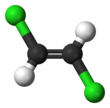 Ball-and-stick model of trans-1,2-dichloroethene