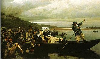 Battle of Cholet - Wounded General Lescure crosses the Loire at Saint-Florent