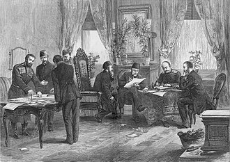 Sarajevo in Austria-Hungary - Russian count Nikolay Ignatyev signing the Treaty of San Stefano with his Ottoman counterparts on 3 March 1878. Among its various Balkans-related geopolitical stipulations, the treaty was to see the Bosnia Vilayet receive autonomous status within the Ottoman Empire. However, none of the treaty's points ever got implemented due to opposition from the Great Powers.