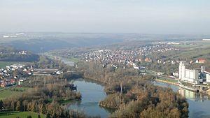 Triefenstein - View of Triefenstein from Kallmuth: Trennfeld, Kloster Triefenstein, Klostersee (quarry pond), river Main with lock, Lengfurt, cement works (left to right).
