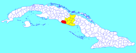 Trinidad municipality (red) within Sancti Spíritus Province (yellow) and Cuba