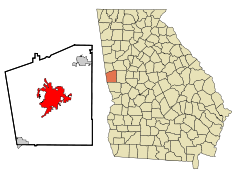 Troup County Georgia Incorporated and Unincorporated areas LaGrange Highlighted.svg