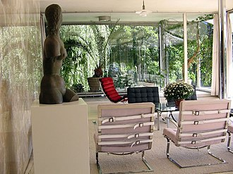 Tugendhat chair - Furniture in the Tugendhat House, including two Tugendhat chairs (foreground).