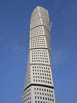 The Turning Torso skyscraper in Malmö, Sweden. It is the second tallest residential skyscraper in Europe. The tower was completed in 2005.
