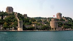 The Rumelihisarı Fortress, seen from the Bosporus.