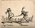 Two Commedia dell'arte street entertainers using a clyster a Wellcome V0011655.jpg