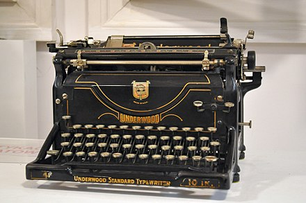 An Underwood typewriter, such as Howard used to write his poetry and fiction. Typewriter - Underwood typewriter - Kroton 001.jpg