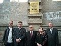 Tyrus Miller, Gia Giorgadze, Vakhtang Amaglobeli, Rowena Cross Najafi, Avtandil Nikoleishvili at the unveiling of a plaque dedicated to John Dos Passos (October 29, 2004).jpg